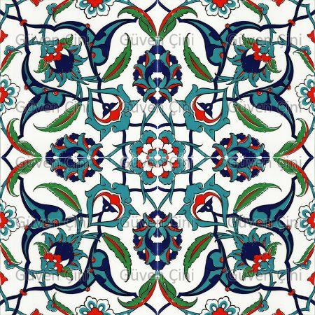 Desenli Kütahya Çini Karo-38 rumi desenli eski usul osmanlı çinisi çinileri türk hamamı otel banyo seramikleri çinileri kurna üstü çini pano modelleri