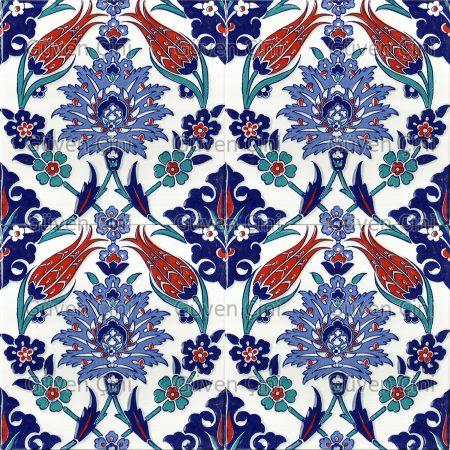 Desenli Kütahya Çini Karo - 4 Klasik Lale Desenli Eski Osmanlı Saray Çinisi Çinileri Desenleri Modelleri Topkapı Sarayı Çinileri İznik Kütahya Seramik