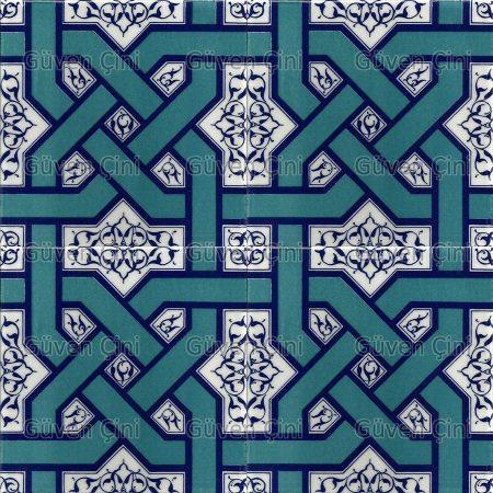 Desenli Kütahya Çini Karo - 6 Geometrik Zincir Desenli Ulama Desenli Kütahya İznik Çini Karo Seramik Eski Çini Örnekleri Desenleri Modelleri Türk Hamamı