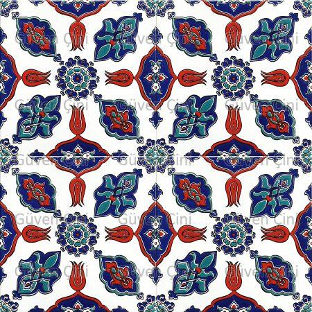 Desenli Kütahya Çini Karo - 8 KAranfil Göbek Desenli Göbekli Türk Hamamı Banyo Cami MÖescit Çinisi Çinileri Desenleri Kaplama Süsleme Çinisi Kütahya
