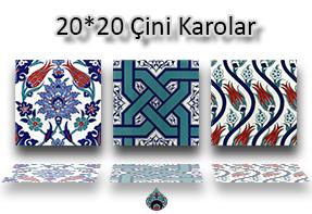 Desebki Kütahya Çini Karo Lale - Karanfil Çİçek Geometrik Desenli İznik Osmanlı Selçuklu Çini Seramik Desenleri