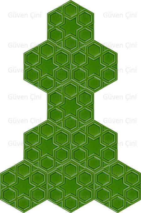 fıstık yeşili desenli altıgen çini karo seramik