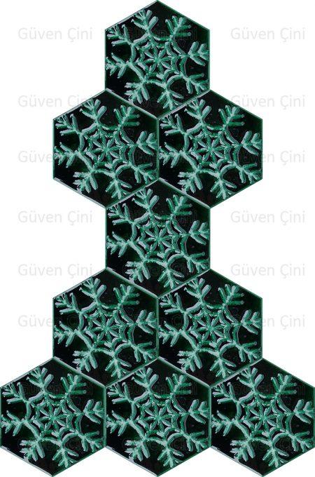 kar tanesi şeklinde altıgen çini karo seramik modelleri desenleri modeli deseni