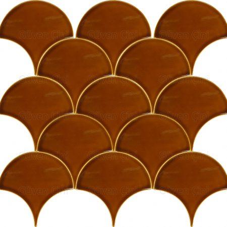 turuncu karamel renkli renginde balık pulu deseni desenli duvar çinisi çini karo seramik seramiği fayans fayansı
