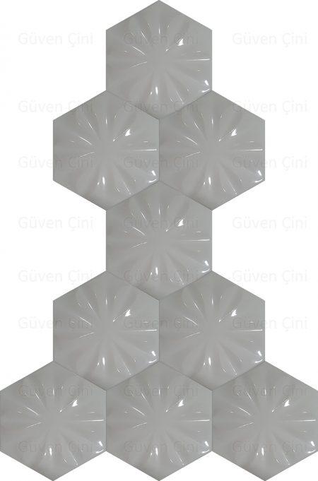 beyaz çiçekli çiçek desenli altıgen geometrik çini karo