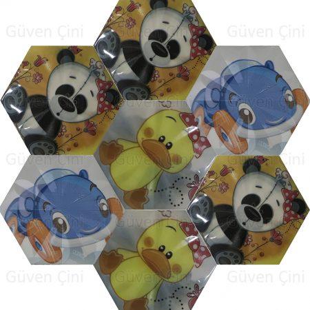 dijital baskı cam seramik mozaik çini karo porselen fayans çocuk odası kreş genç odası çizgi film ayıcık kurtcuk panda