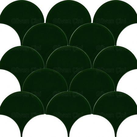 koyu yeşil zümrüt yeşili renkli renklerinde yeni model modelli özel kesimli balık pulu deseni desenli çini karolar